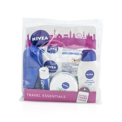 NIVEA - TRAVEL ESSENTIALS Shower Cream Soft (50ml) & Cream Care Cleansing Wipes (25wipes) & Protect & Care Anti-Perspirant (50ml) & Soft Moisturizing Cream (50ml) & Liposan Original