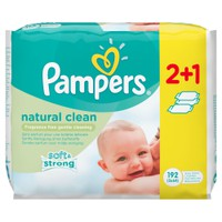 PAMPERS BABY WIPES NATURAL CLEAN (ΧΩΡΙΣ ΑΡΩΜΑ) 192ΤΕΜ (3Χ64)