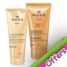 Nuxe Refreshing After-Sun Lotion Face & Body Λοσιόν για Μετά τον Ήλιο 200ml + Delicious Cream for Face SPF30 Αντηλιακή Κρέμα Προσώπου 50ml. Πακέτο αντηλιακής προστασίας της Nuxe σε προνομιακή τιμή.