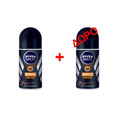 NIVEA MEN - STRESS PROTECT Αποσμητικό roll on - 50ml - 1+1 δώρο