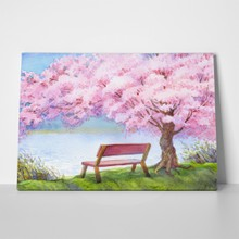 Bench under peach tree 245650795 a