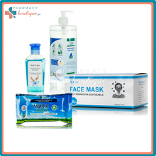 Promo Pack Moresept 1000ml, Soft Care Hand Gel 75ml, Μάσκες Προστασίας 50τεμ., Moresept Μαντηλάκια 75% 10τμχ