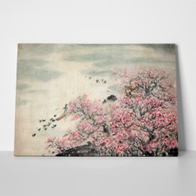 Chinese landscape painting pink 74680333 a