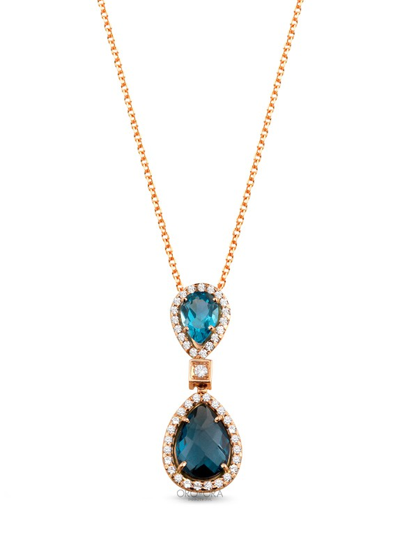 Necklace Rose Gold K14 with Zircon, Blue Topaz and London Blue
