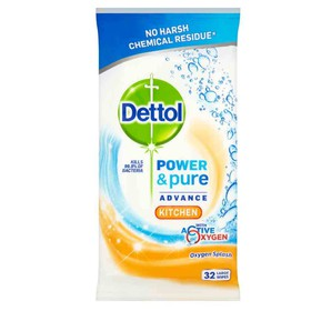 DETTOL ΜΑΝΤΗΛΑΚΙΑ ΚΑΘΑΡΙΣΜΟΥ ΚΟΥΖΙΝΑΣ POWER & PURE 32 ΤΕΜΑΧΙΑ