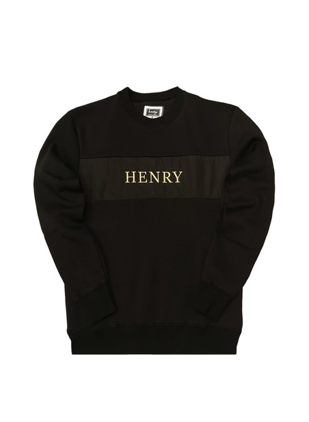HENRY CLOTHING BLACK CREW NECK WITH GOLD LOGO