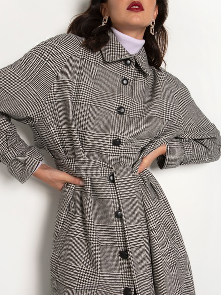 Long checked trench coat.
