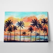 Watercolor tropical landscape palms ocean orange 615088457 a