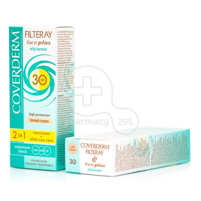 COVERDERM - FILTERAY Face Plus Oily/Acneic Tinted Cream SPF30 (Soft Brown) - 50ml