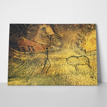 Buffalo hunting paint human on sandstone 635705156 a
