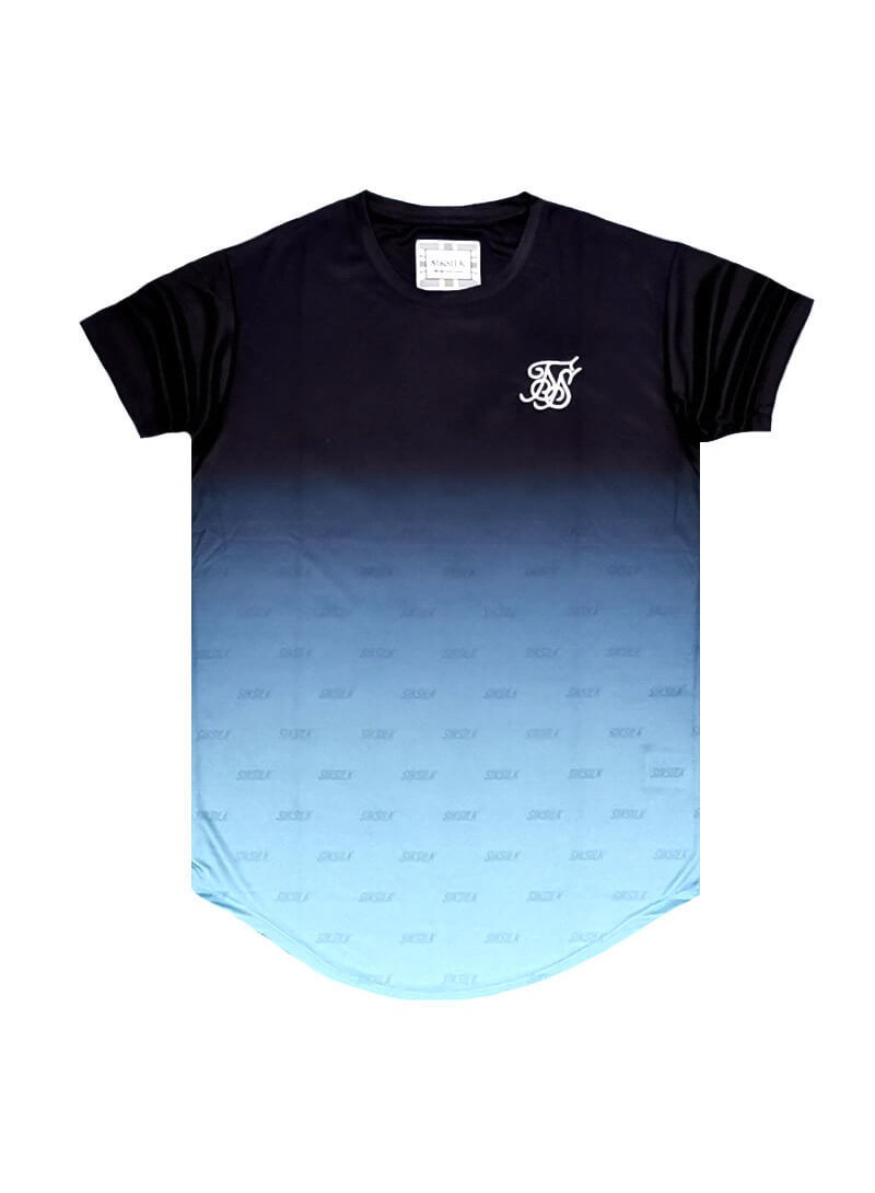 SikSilk S/S Curved Hem Tee - Black &  Light Blue