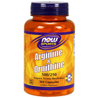 NOW SPORTS ARGININE & ORNITHINE 500/250 MG, 100 CAPS