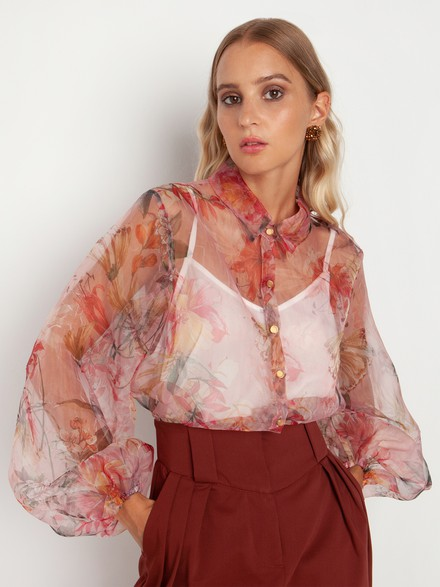 Floral shirt with transparency