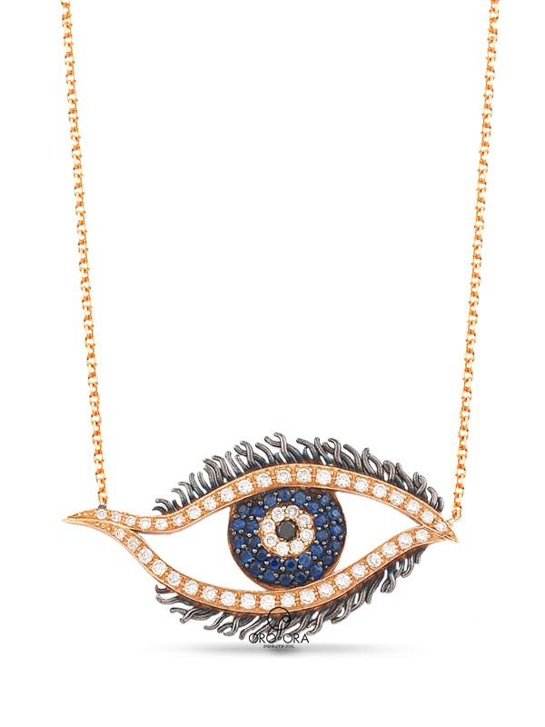 Necklace Rose Gold K18 with Diamonds and Sapphires