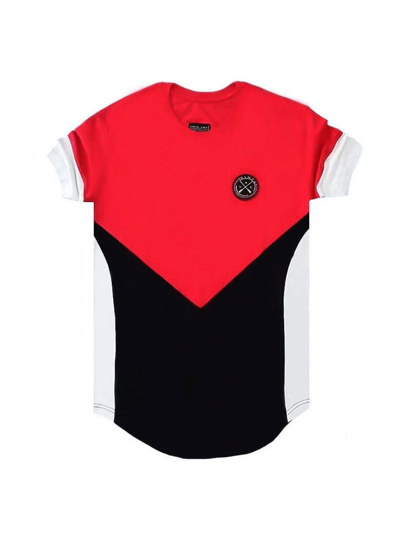 VINYL ART CLOTHING RED/BLACK ASYMMETRIC CORE T-SHIRT