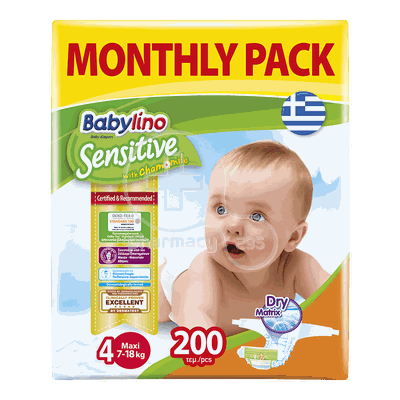 BABYLINO - MONTHLY PACK Babylino Sensitive Maxi No4 (7-18 Kg) - 200 πάνες