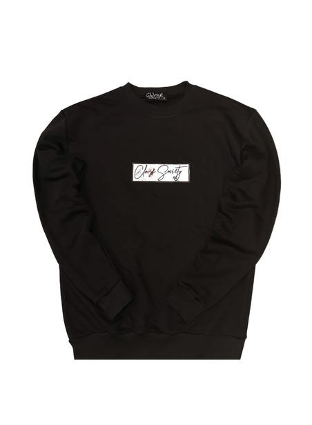 CLVSE SOCIETY BLACK CREW NECK WITH UNIQUE PATCH