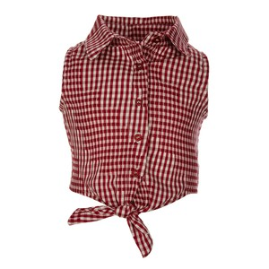 Girls Tied Front Ckecked Shirt