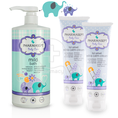 PHARMASEPT - PROMO PACK BABY CARE Mild Bath 2in1 - 1000ml & 2 ΤΕΜΑΧΙΑ Extra Calm Cream - 150ml