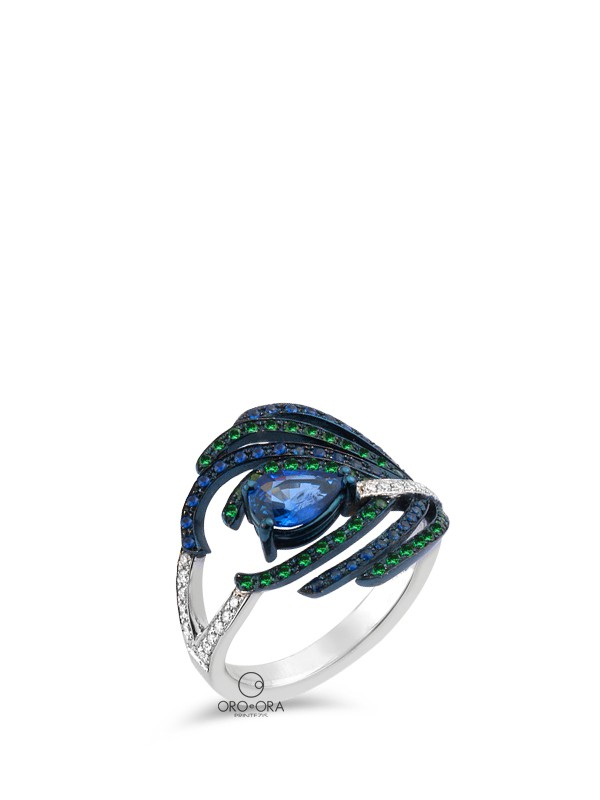 Ring White Gold K18 with Diamonds, Sapphires and Tsavorites