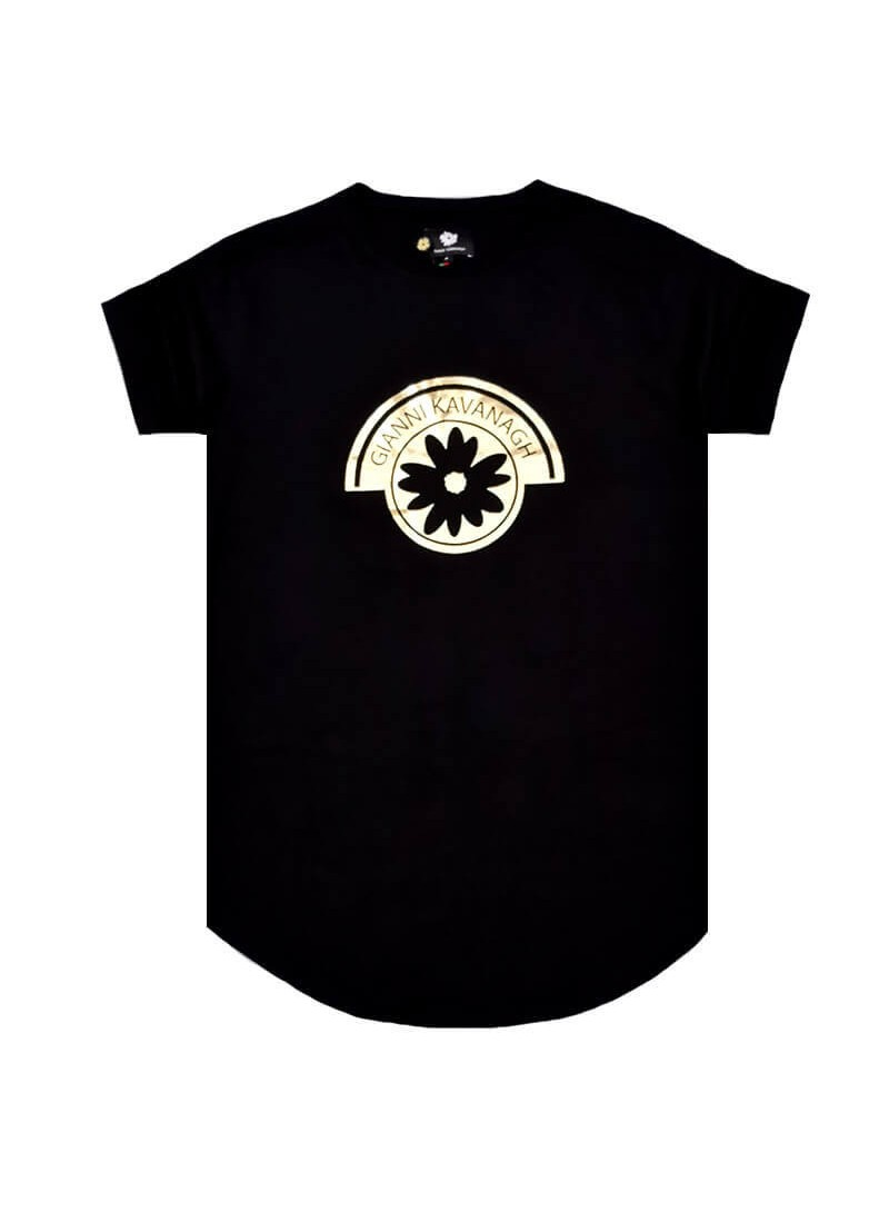 Gianni Kavanagh Black Tee With Gold GK Print