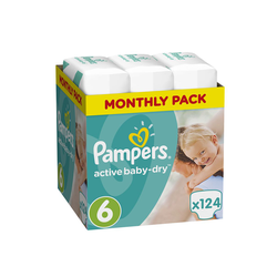 Pampers Active Baby Dry Πάνες Μέγεθος 6 (Extra Large) 15+Kg 124 Τεμάχια