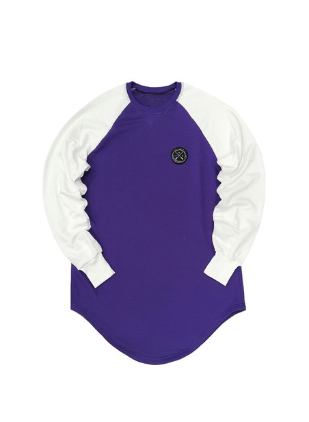 VINYL ART CLOTHING SWEATSHIRT CONTRASTED SLEEVE PURPLE