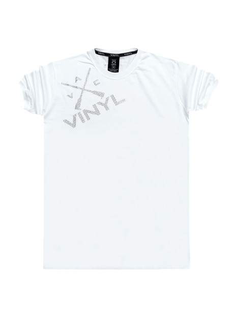 VINYL ART CLOTHING WHITE T-SHIRT WITH LOGO ON SHOULDER