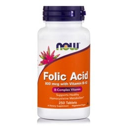 Now Folic Acid 800 mcg, w/ Vitamin B-12 Vegetarian, 250 tabs