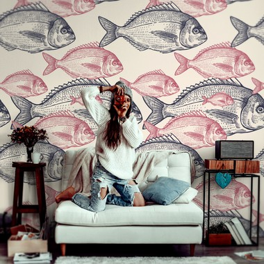 Wall Mural Vintage Fish Drawing Dec0