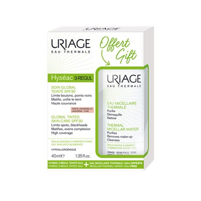 Uriage - HYSEAC 3 Regul Soin Global Teinte SPF30 - 40ml & ΔΩΡΟ Eau Micellaire Thermale PM/Oily Skin - 100ml