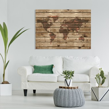 Wooden world map a