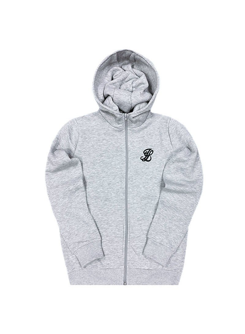 Illusive London Zip Through Hoodie - Grey Mar