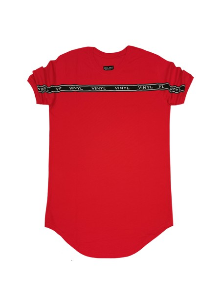 VINYL ART CLOTHING RED TAPED STRIPE T-SHIRT