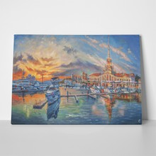 Oil painting on canvas evening seaport 1099778606 a