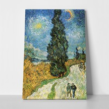 Van gogh   road with cypress and star a