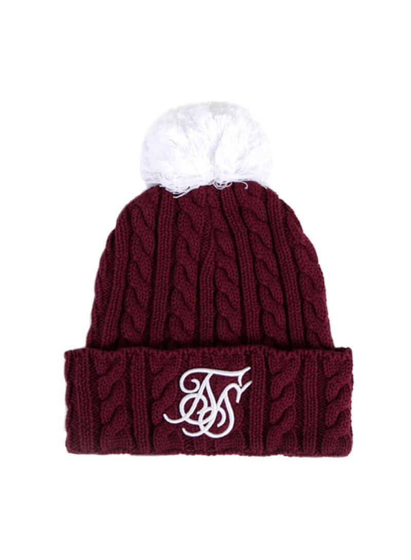 SikSilk Cable Bobble Hat - Ruby & White