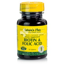 Natures Plus BIOTIN (2mg) / FOLIC ACID (800mcg) SR - 30tabs