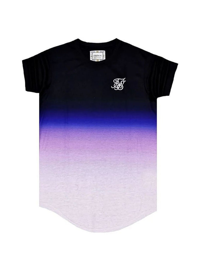 SikSilk Curved Hem Fade Tee - Black, Purple & White