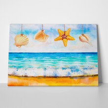Hung starfish and shells 1070239883 a