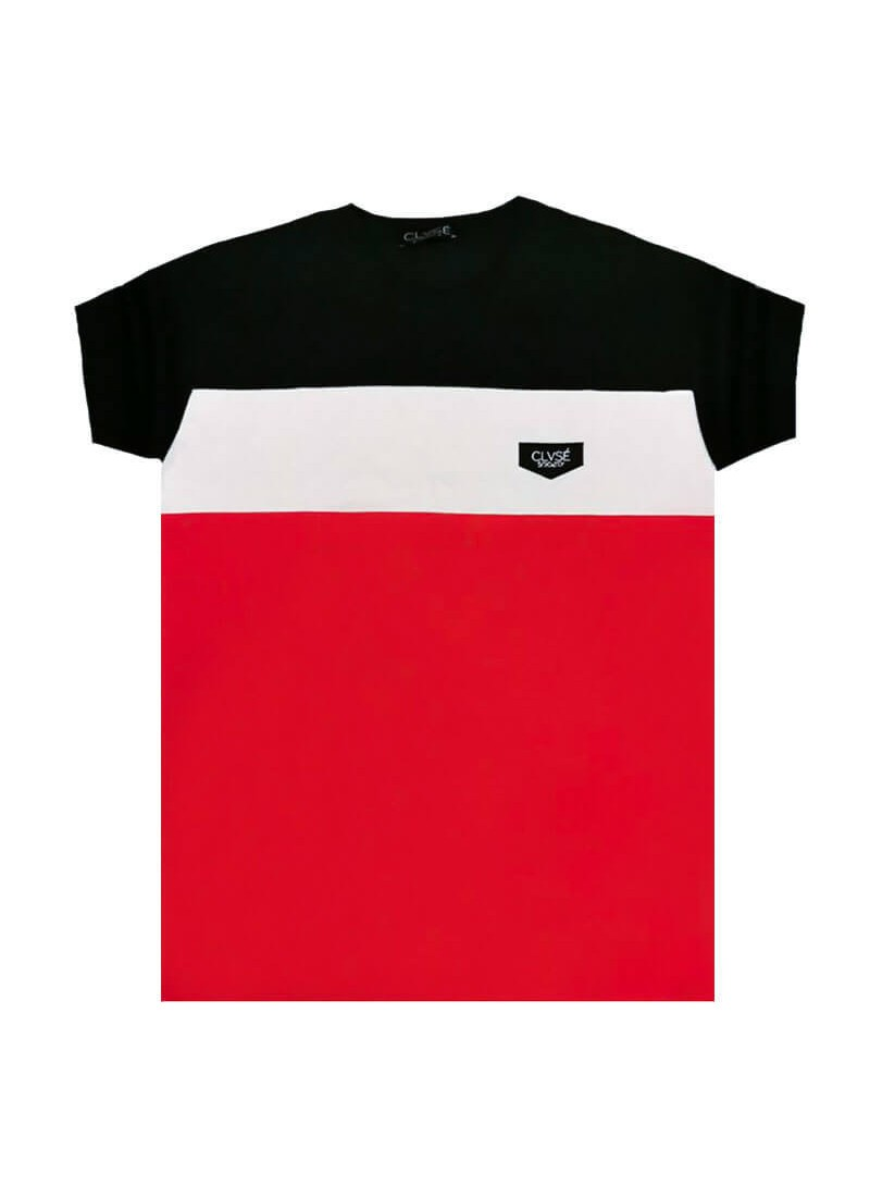 CLVSE SOCIETY RED T-SHIRT 508 COLOR BLOCKING