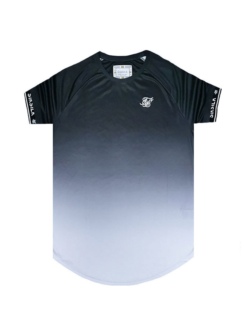 SikSilk S/S Raglan Curved Hem Tech Tee – Black & White