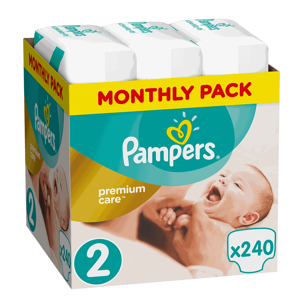 130757 pampers   monthly pack premium care new baby no2  3 6kg    240       08001090379474
