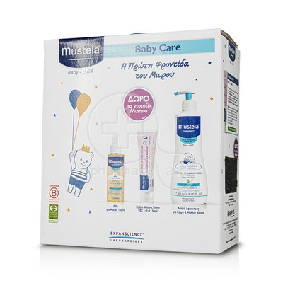 MUSTELA - PROMO PACK Huile de Massage - 100ml, Vitamin Barrier Cream - 50ml, Gel Lavant Doux - 500ml ΜΕ ΔΩΡΟ Ένα υπέροχο νεσεσέρ