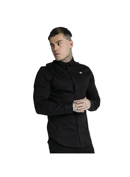 SikSilk L/S Cotton Shirt - Black