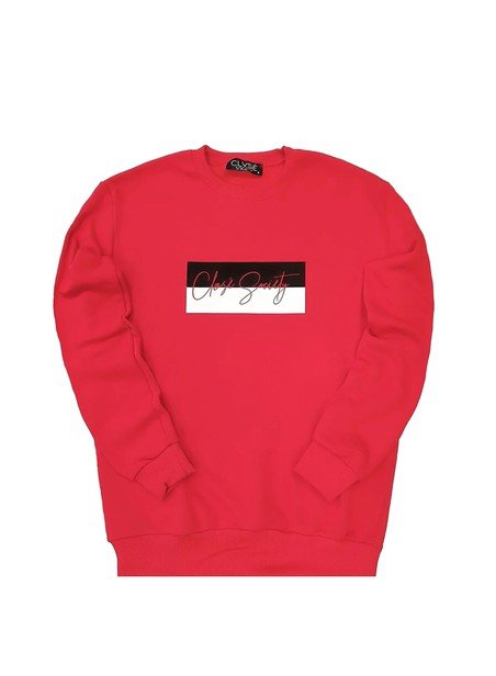 CLVSE SOCIETY RED CREW NECK WITH BLACK/WHITE STAMP