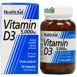 Health Aid Vitamin D3 5000 IU Βιταμίνη D3, 30 tabs