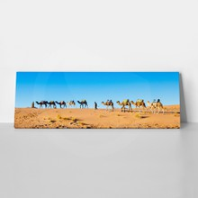 Camel caravan on the sahara desert in profile against a bright blue sky. panorama.