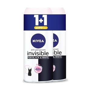 Nivea black   white clear invisible roll on 48h 50ml x2