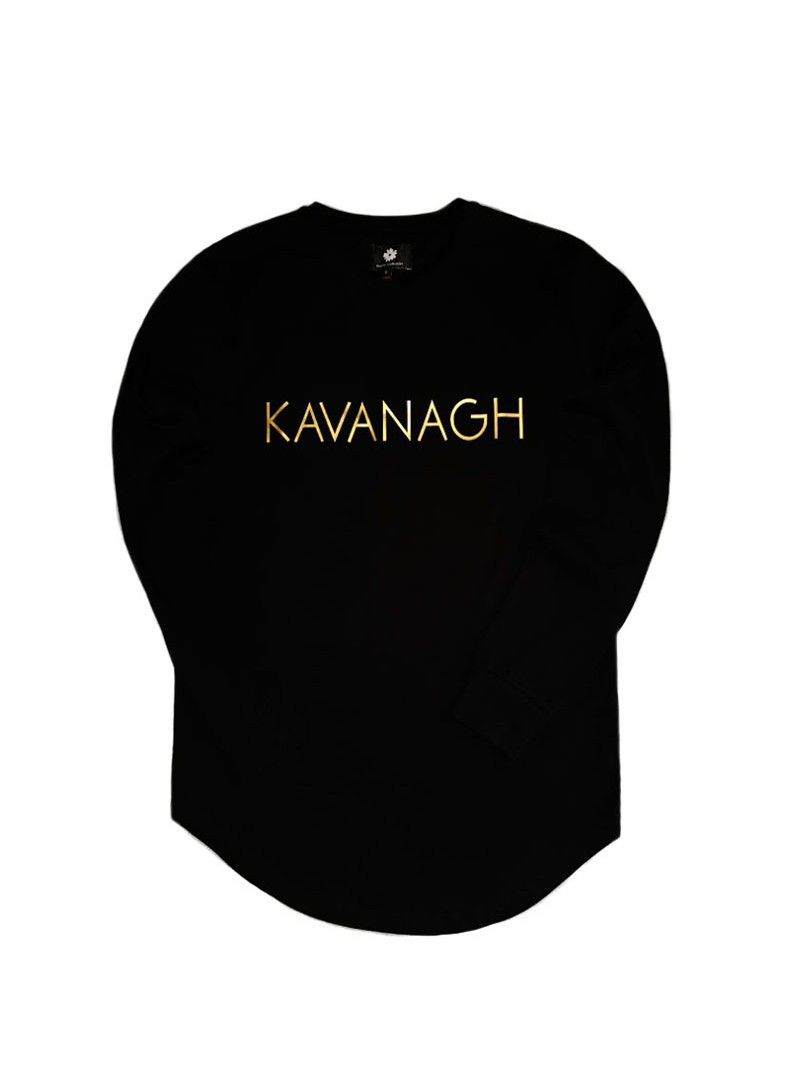 Gianni Kavanagh Black Long Sleeve Tee With Gold Print